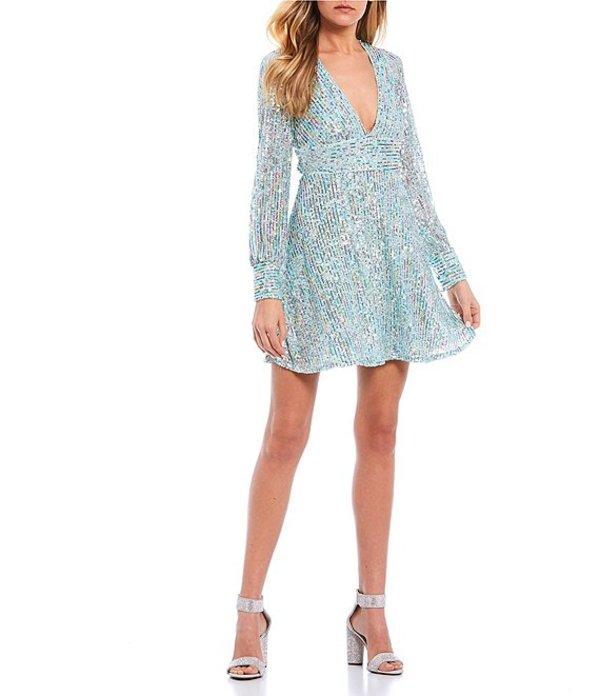 ハニーアンドロージー レディース ハーフパンツ・ショーツ ボトムス Long Sleeve Deep V-Neck Unicorn Sequin Pleated Dress Aqua/Multi