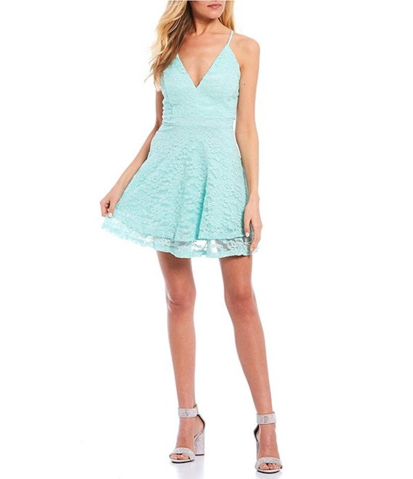ハニーアンドロージー レディース ハーフパンツ・ショーツ ボトムス Spaghetti Strap Bra-Back Lace Double Hem Fit-and-Flare Dress Mint