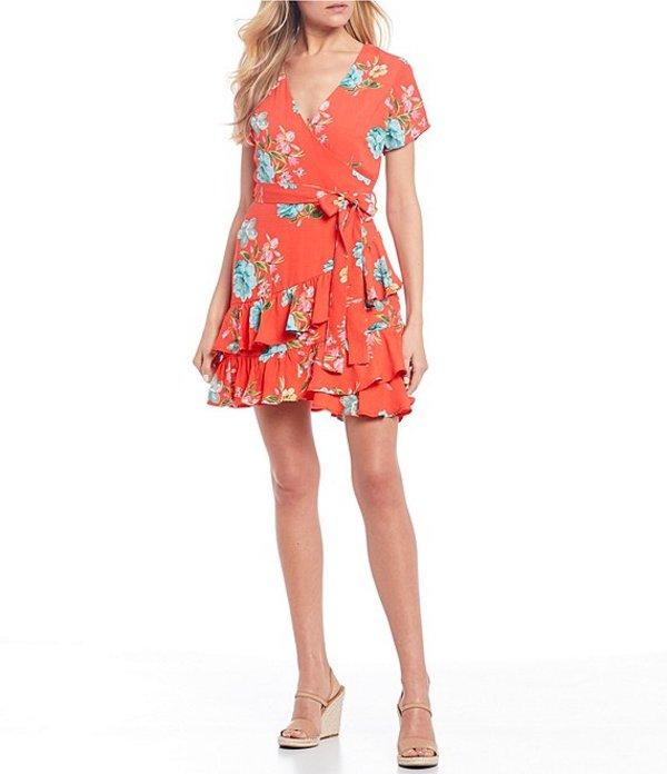 ハニーアンドロージー レディース ワンピース トップス Short Sleeve Surplice V-Neck Floral Print Ruffle Faux-Wrap Dress Coral/Multi
