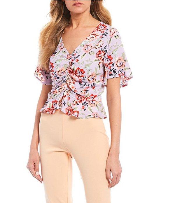 タカラ レディース シャツ トップス V-Neck Floral Cinched-Front Shirt Multi