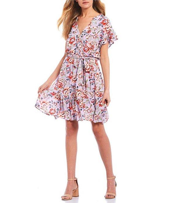 タカラ レディース ワンピース トップス Floral Faux-Wrap Dress Multi
