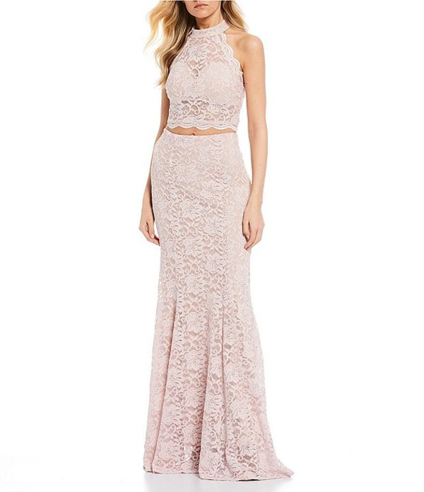 シークインハーツ レディース ワンピース トップス Mock Neck Glitter Lace Two-Piece Long Dress Mauve/Nude