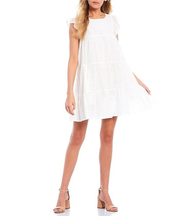 シークインハーツ レディース ワンピース トップス Eyelet Ruffle Tiered Dress White