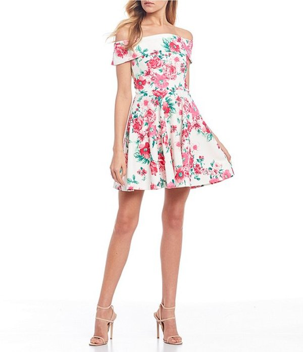 ビーダーリン レディース ワンピース トップス Cuffed Off-The-Shoulder Floral Skater Dress Off White/Pink