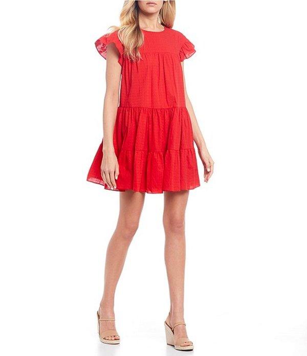 ビーダーリン レディース ワンピース トップス Cap Sleeve Tiered Swing Dress Red