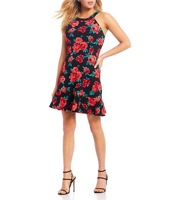 I.N.サンフランシスコ レディース ワンピース トップス Floral Print Ruffle Hem Dress Black/Red
