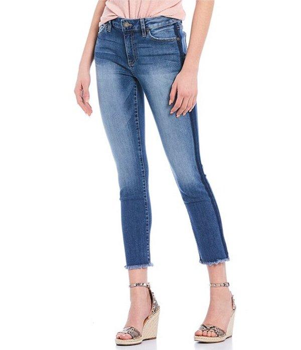 ミスミー レディース ハーフパンツ・ショーツ ボトムス Side Stripe Cropped Straight Jeans Medium Blue