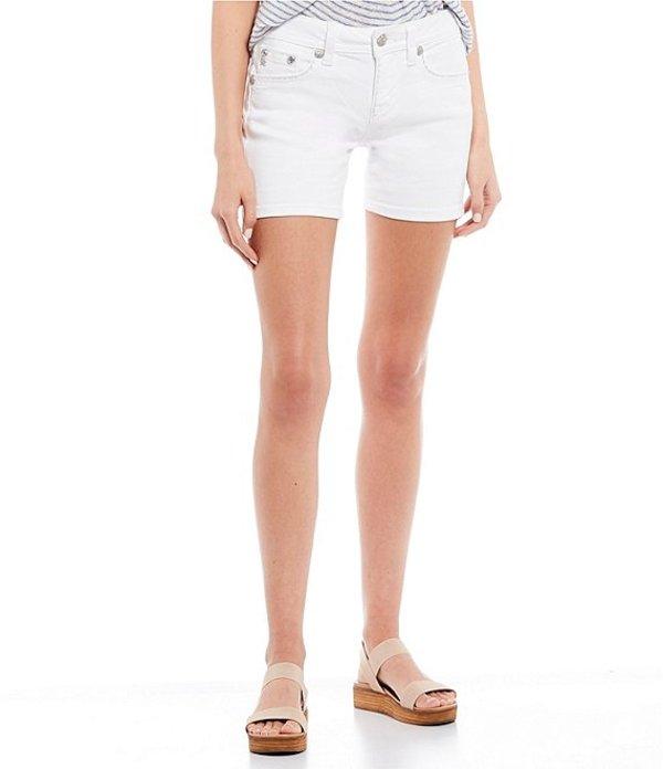 ミスミー レディース ハーフパンツ・ショーツ ボトムス Mid Rise Border Stitch Flap Pocket Mid Length Shorts White