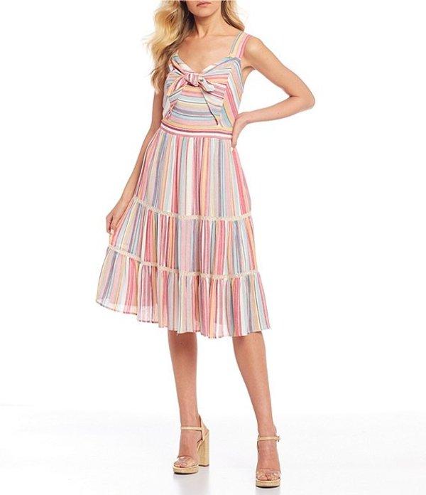 ミスミー レディース ワンピース トップス Stripe Tie Front Tiered Dress Pink Multi