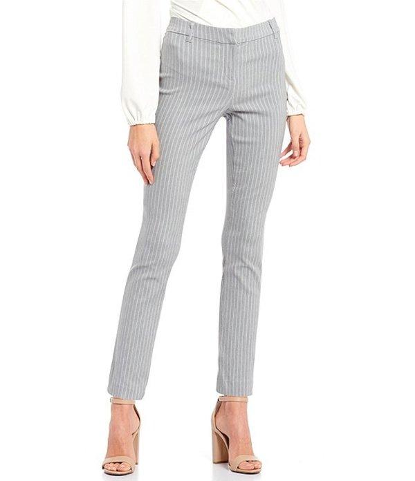 タカラ レディース カジュアルパンツ ボトムス Pin Stripe Front-Zipper Ankle Pants Grey