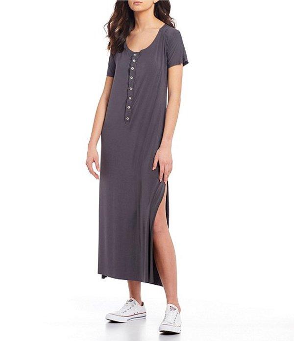 チェルシーアンドバイオレット レディース ワンピース トップス Knit Button Front Dress Charcoal