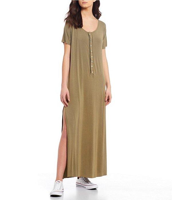 チェルシーアンドバイオレット レディース ワンピース トップス Knit Button Front Dress Olive