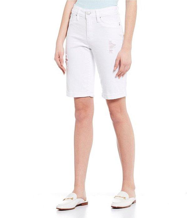 YMIジーンズ レディース ハーフパンツ・ショーツ ボトムス Ymi Jeanswear Wannabettabutt Mid Rise Destructed Rolled Cuff Bermuda Shorts White