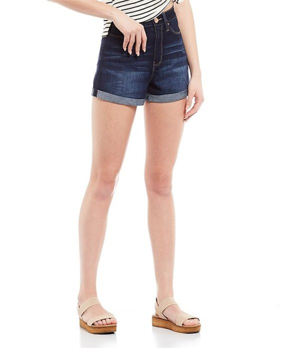 YMIジーンズ レディース ハーフパンツ・ショーツ ボトムス Hide Your Muffin High Rise Rolled Cuff Shorts New Blue