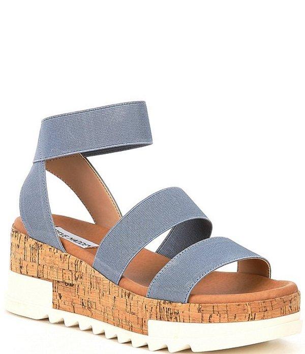 スティーブ マデン レディース サンダル シューズ Bandi Elastic Cork Flatform Sandals Dusty Blue
