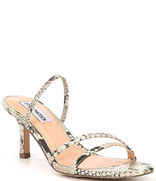 スティーブ マデン レディース サンダル シューズ Loft Snake Print Strappy Dress Slide Sandals Gold Snake