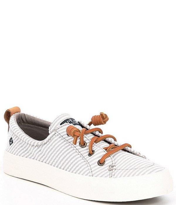 スペリー レディース スニーカー シューズ Crest Vibe Seersucker Stripe Sneakers Grey/White