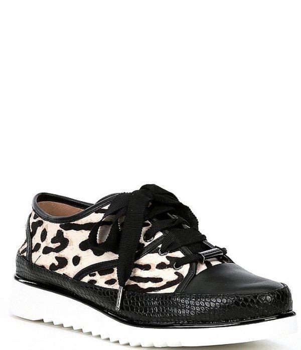 ドナルドプリネール レディース スニーカー シューズ Flipp Leopard Print Calf Hair Sneakers Black/White