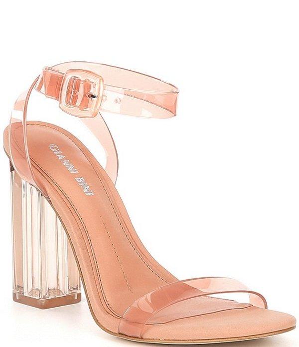 ジャンビニ レディース サンダル シューズ Liyra Clear Block Heel Sandals Pink Lady