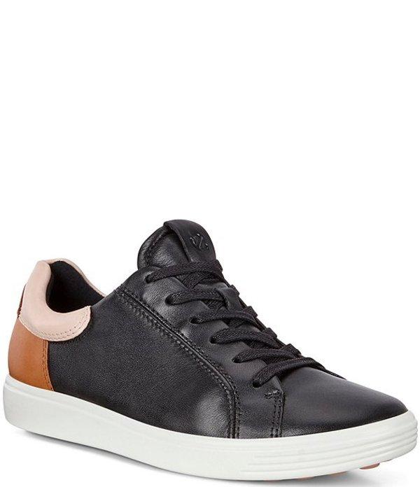 エコー レディース スニーカー シューズ Soft 7 Leather Street Sneakers Black/Rose Dust/Lion