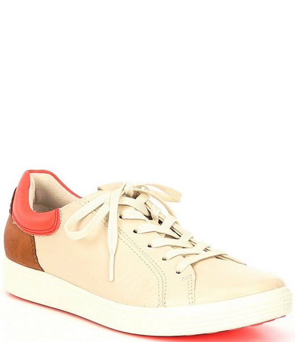 エコー レディース スニーカー シューズ Soft 7 Leather Street Sneakers Vanilla/Coral Neon/Lion