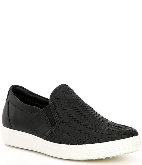 エコー レディース スニーカー シューズ Soft 7 Woven Leather Slip On II Sneakers Black