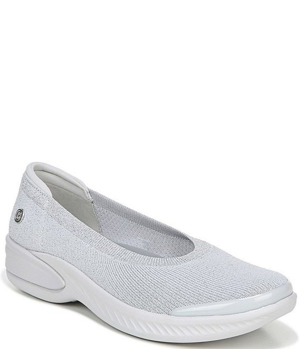 ビジーズ レディース スニーカー シューズ Nutmeg Metallic Knit Slip-On Flats Grey Silver