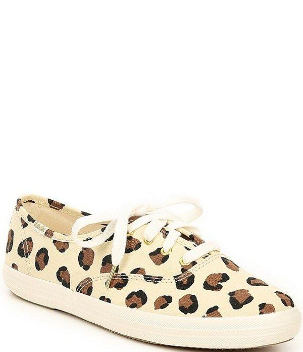 ケッズ レディース スニーカー シューズ Champion Leopard Print Canvas Sneakers Cream