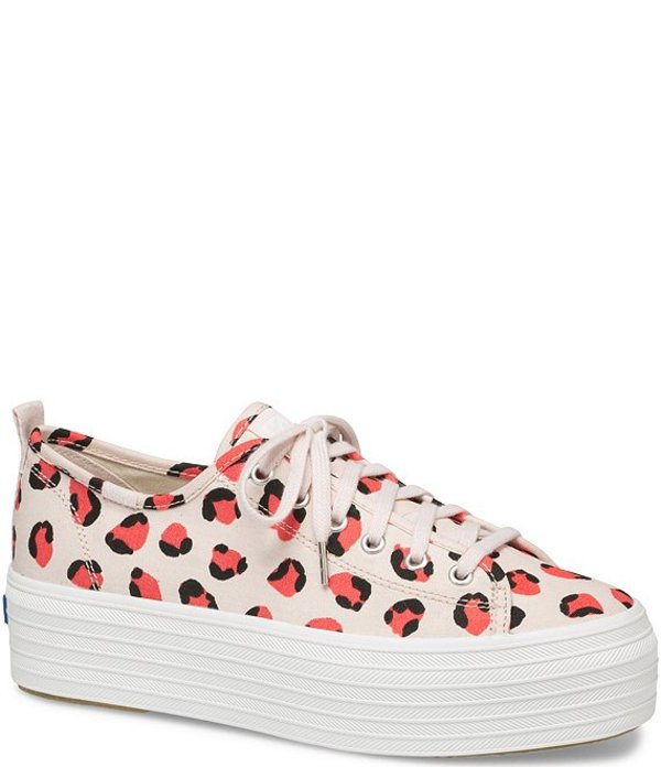 ケッズ レディース スニーカー シューズ Triple Up Leopard Print Canvas Platform Sneakers Light Pink/Coral