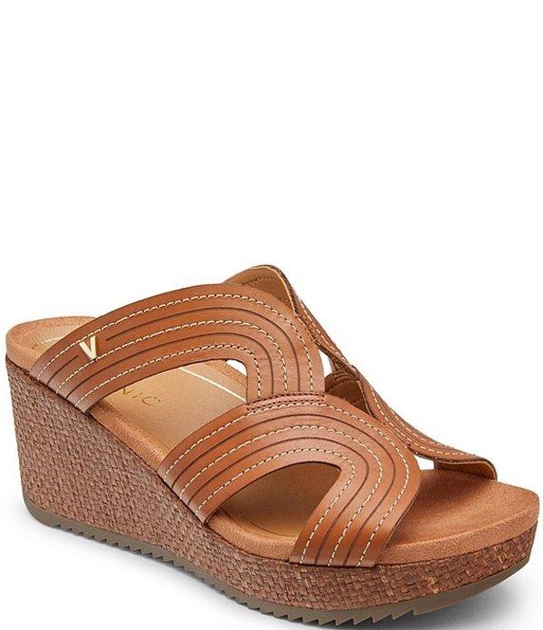 バイオニック レディース サンダル シューズ Malorie Leather Wedge Slide Sandals Tan