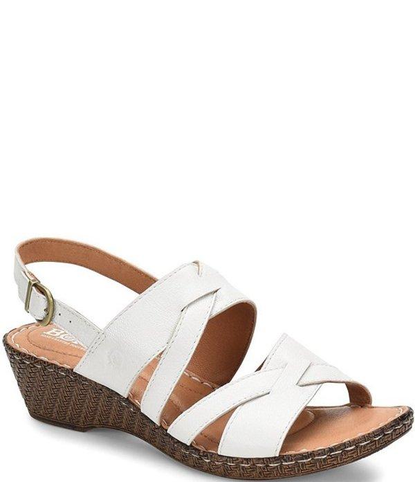 ボーン レディース サンダル シューズ Danav Leather Banded Slingback Wedge Sandals White