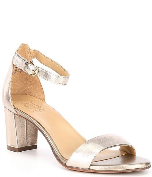 ナチュライザー レディース ヒール シューズ Vera Leather Block Heel Metallic Dress Sandals Light Brown