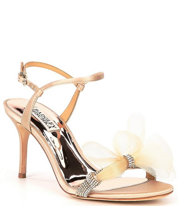 バッジェリーミシュカ レディース サンダル シューズ Janie Embellished Satin Tulle Bow Detail Dress Sandals Nude