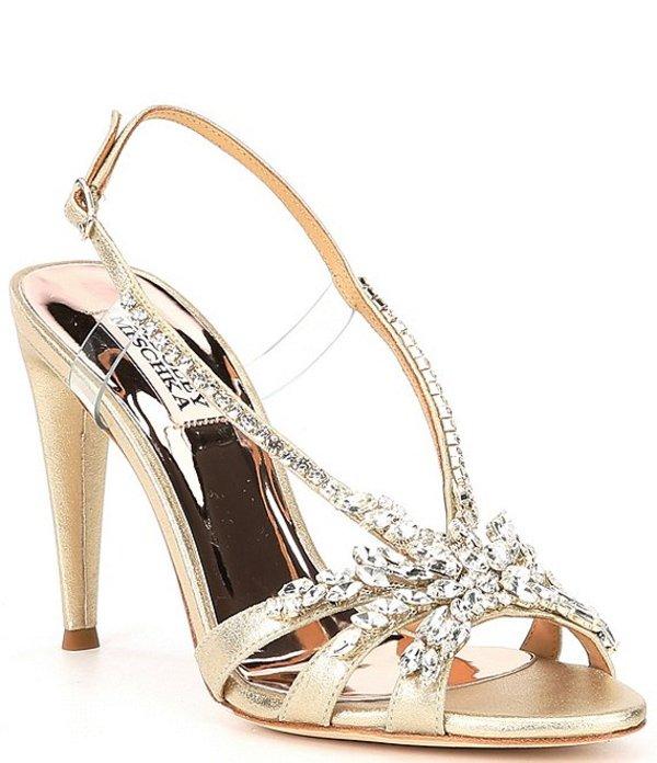 バッジェリーミシュカ レディース サンダル シューズ Jaqueline Embellished Leather Dress Sandals Platino
