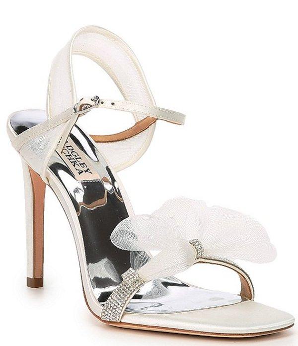 バッジェリーミシュカ レディース サンダル シューズ Jessica Embellished Satin Dress Sandals White