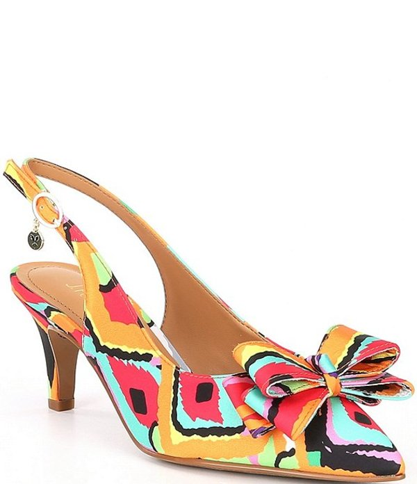 ジェイレニー レディース ヒール シューズ Gosalyne Retro Print Bow Detail Slingbacks Red/Orange Multi