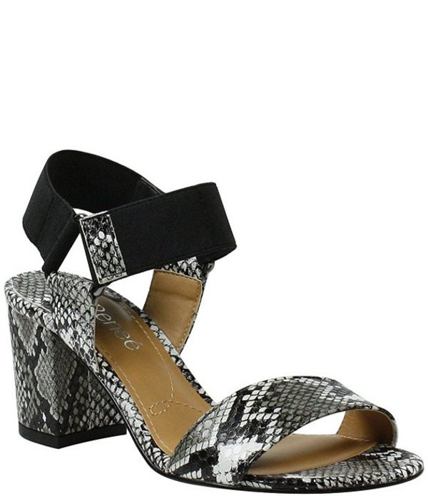 ジェイレニー レディース サンダル シューズ Zidane Snake Print Stretch Elastic Block Heel Sandals Black/White Multi Snake