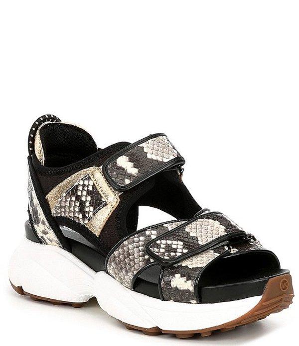 マイケルコース レディース サンダル シューズ MICHAEL Michael Kors Harvey Snake Print Sandals Natural/Black