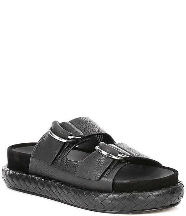 フリーピープル レディース サンダル シューズ Panama Leather Footbed Slide Sandals Black