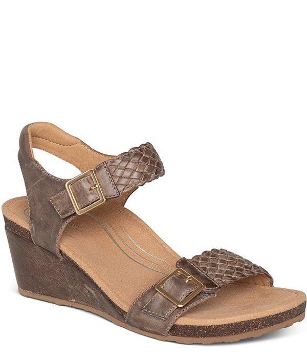 エイトレックス レディース サンダル シューズ Grace Woven Leather Wedge Sandals Taupe