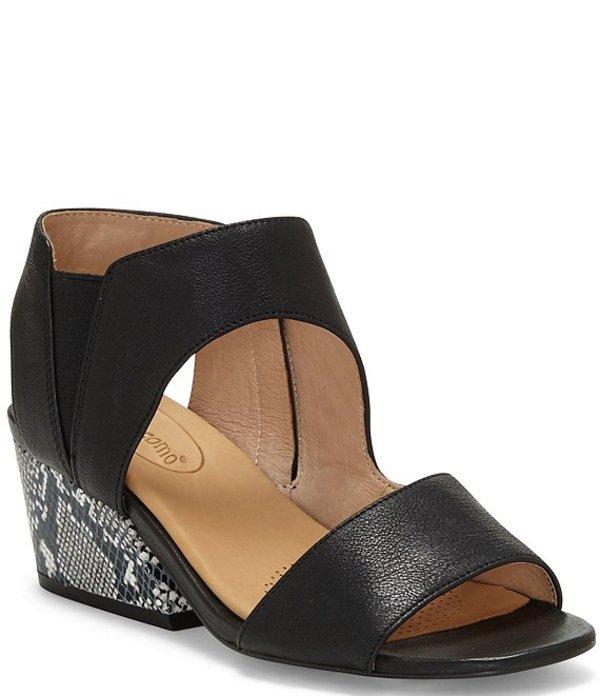 コルソ コモ レディース サンダル シューズ Sayge Leather Snake Print Block Heel Sandals Black