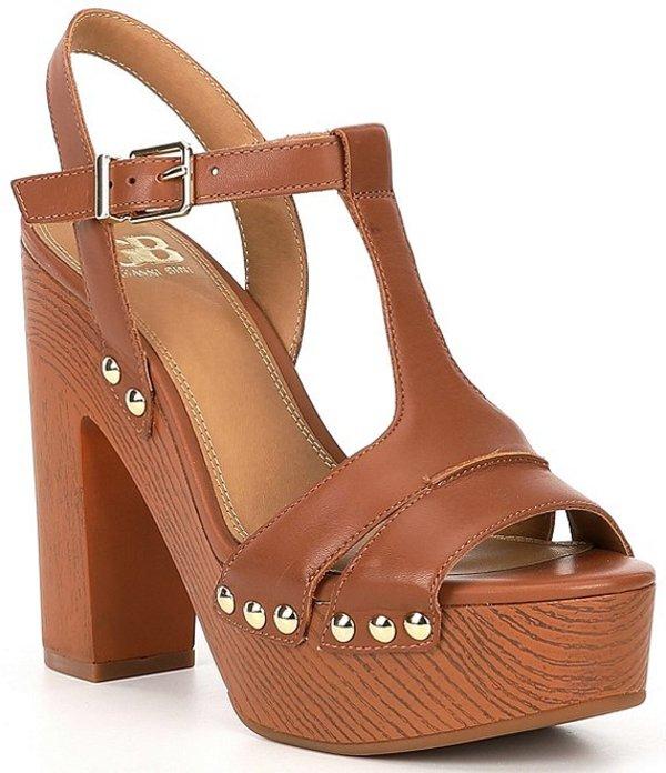 ジービー レディース サンダル シューズ Gb En-Hanced Leather Wood Heel Platform Sandals Capri Tan