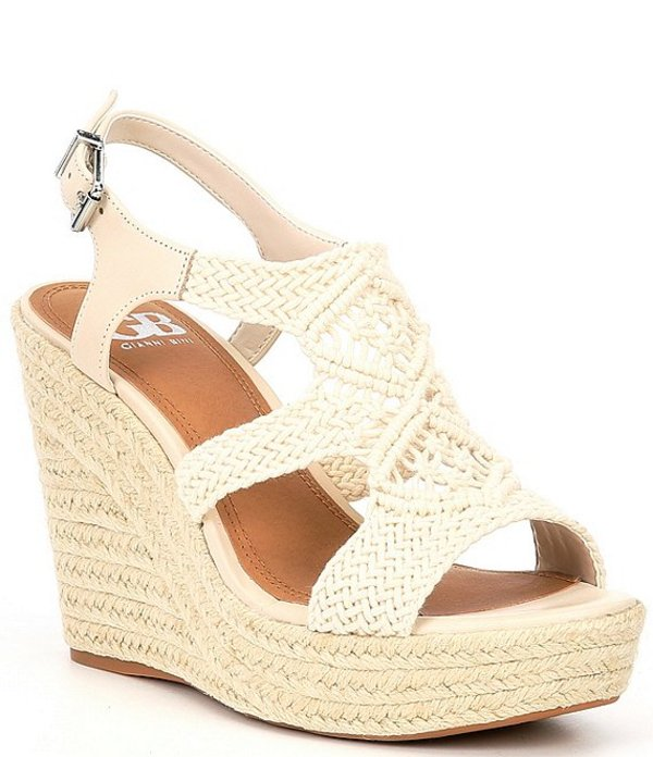 ジービー レディース サンダル シューズ Close-Up Woven Macrame Espadrille Wedges Pebble