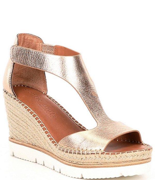 ジェントルソウルズ レディース サンダル シューズ Elyssa Leather Easy T-Strap Espadrille Sandals Rose Gold