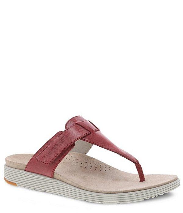 ダンスコ レディース サンダル シューズ Cece Leather Thong Sandals Red Burnished Calf