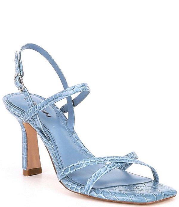 ジャンビニ レディース サンダル シューズ Neveena Croc Embossed Leather Square Toe Strappy Sandals Thunder Blue