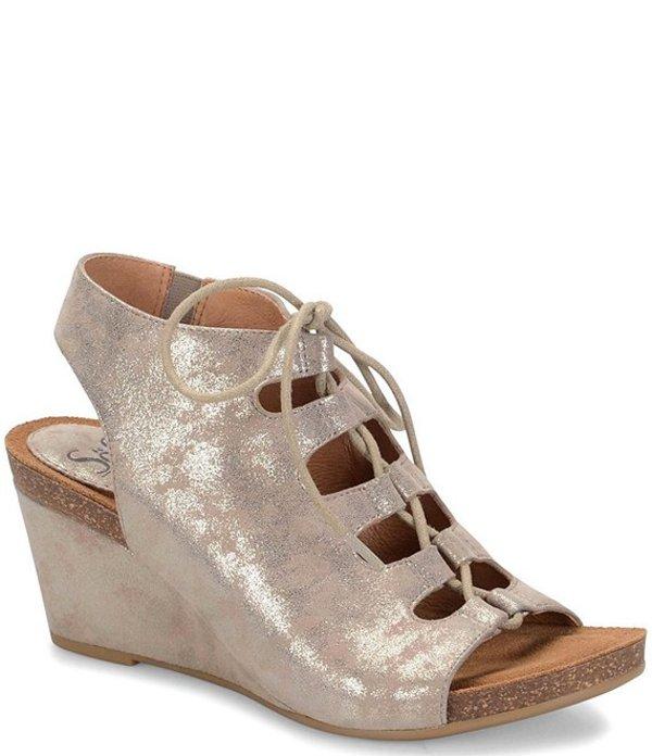 ソフト レディース サンダル シューズ Maize Distressed Metallic Suede Wedge Sandals Anthracite