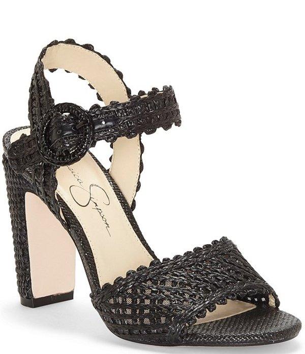 ジェシカシンプソン レディース サンダル シューズ Ashtyn Raffia Scalloped Block Heel Sandals Black