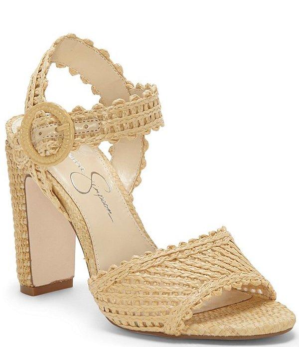 ジェシカシンプソン レディース サンダル シューズ Ashtyn Raffia Scalloped Block Heel Sandals Natural