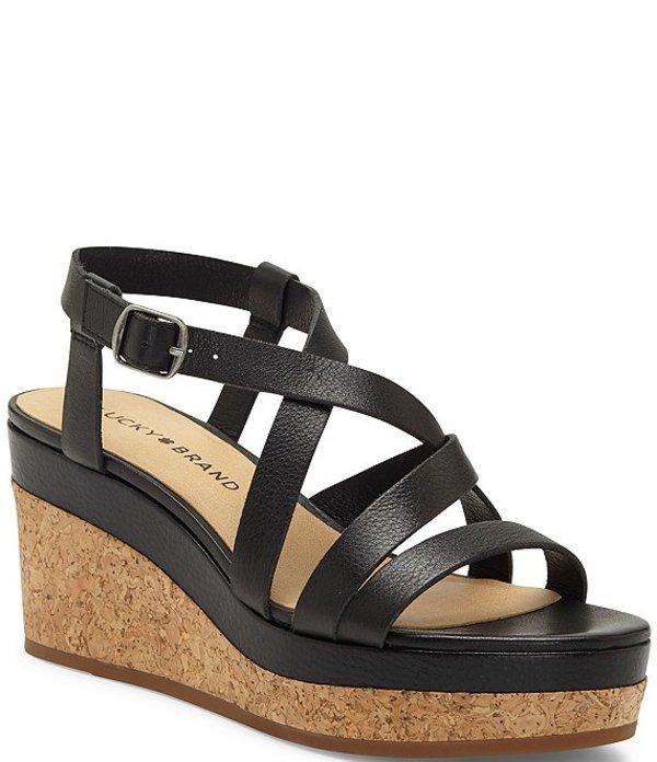 ラッキーブランド レディース サンダル シューズ Batikah Strappy Leather Cork Wedge Sandals Black